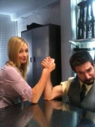 Yvonne Strahovski-Arm Wrestling with Joshua Gomez on The Set Of Chuck