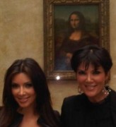 Kim Kardashian & Kris Jenner Pose with the Mona Lisa Painting in Paris